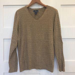 Karen Scott Cabled V-Neck Cotton Sweater